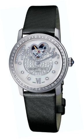 Frederique Constant White Guilloche Heart Diamond Ladies Watch FC-310SQPV2PD6