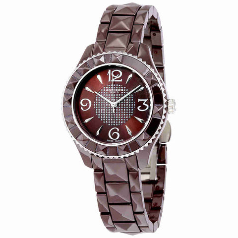 Akribos Brown Pyramid-Cut Ceramic Ladies Watch AK533BR