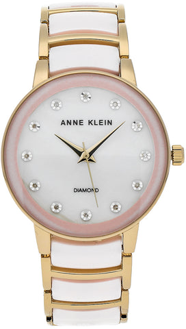 Anne Klein DiamondPink Mother of Pearl Dial Ladies Watch 2672LPGB
