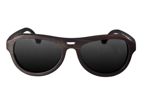Earth Coronado Natural Ebony Painted Wood Black Lens Sunglasses