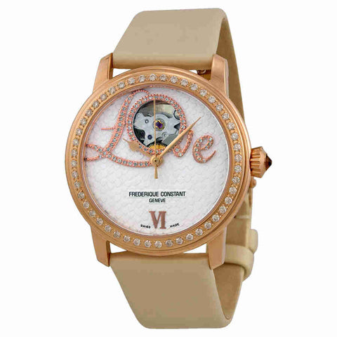 Frederique Constant Heart Beat Vanilla Dial White Satin Ladies Watch 310LHB2PD4