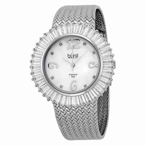Burgi Mother Of Pearl Dial Silver-tone Brass Mesh Ladies BUR076WT