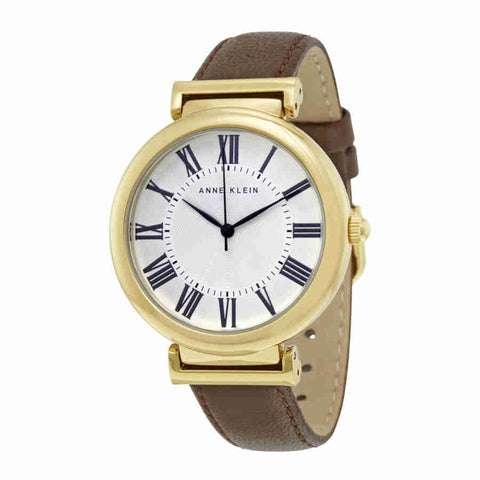 Anne Klein Cream Glossy Dial Brown Leather Ladies Watch 2136CRBN