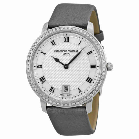 Frederique Constant Slim Line Silver Guilloche Dial Grey Satin Ladies Watch FC-220M4SD36