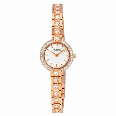 Bulova Crystal Mother of pearl Dial Ladies Watch 98L215