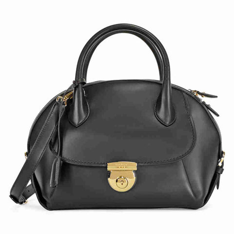 Ferragamo Medium Fiamma Leather Satchel - Black