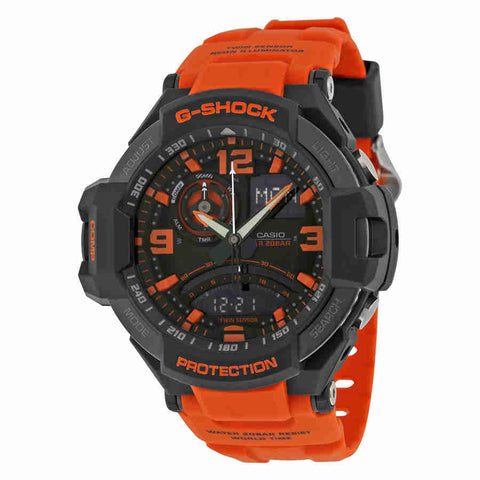Casio G Shock Aviation Black and Orange Dial Mens Watch GA1000-4ACR