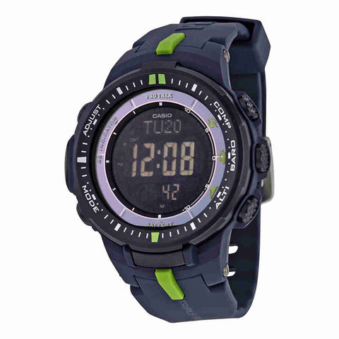 Casio Pro Trek Black Dial Resin Multi-function Mens Watch PRW3000-2CR