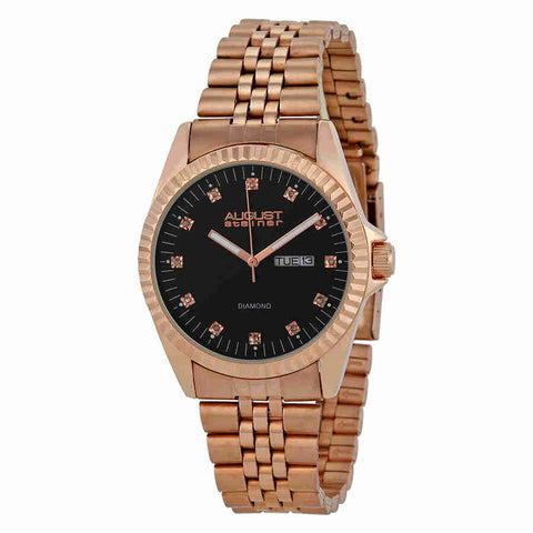 August Steiner Black Dial Rose Gold-tone Mens Watch AS8047RG