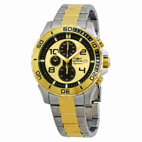 Invicta Signature II Black and Gold-tone Dial Mens Watch 7391