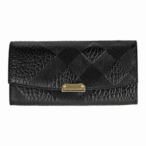 Burberry Embossed Check Leather Continental Wallet - Black