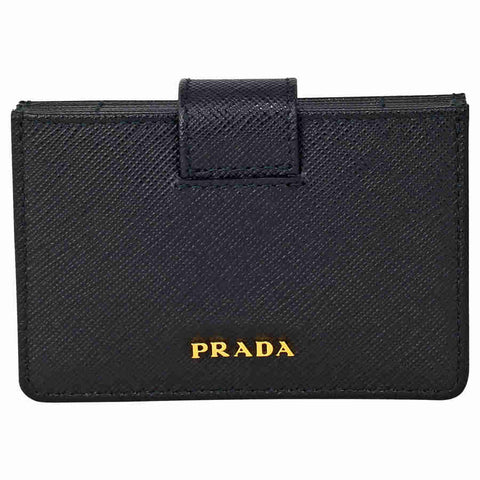 Prada Accordion Saffiano Leather Card Case - Black