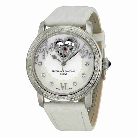 Frederique Constant Heart Beat Automatic Mother of Pearl Dial White Leather Ladies Watch FC-310SQ2PD6