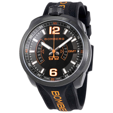 Bomberg Bolt-68 Black Dial Mens Two Tone Rubber GMT Watch BS45GMTPBA.026.3