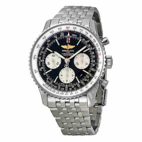 Breitling Navitimer 01 Black Dial Chronograph Stainless Steel Mens Watch AB012012-BB01SS