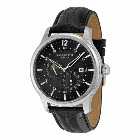 Akribos Automatic Multi-Function Black Leather Mens Watch AK537BK