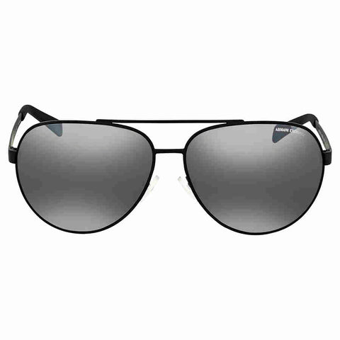 Armani Exchange Grey Mirror Silver Aviator Sunglasses