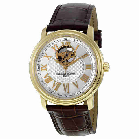 Frederique Constant Silver Guilloche Brown Leather Mens Watch FC-310NM4P5