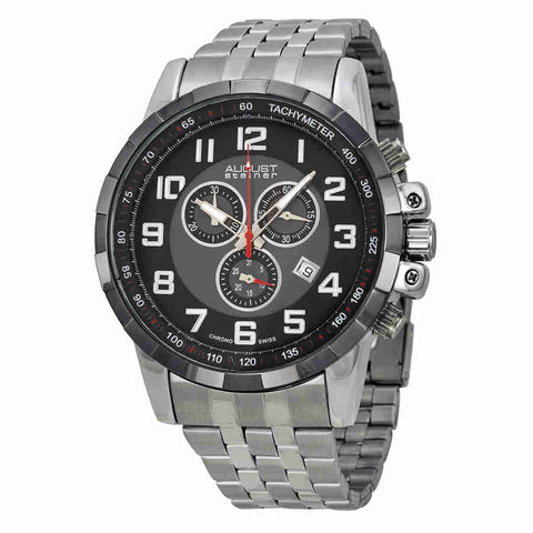 August Steiner Black Mens Watch AS8118SSB