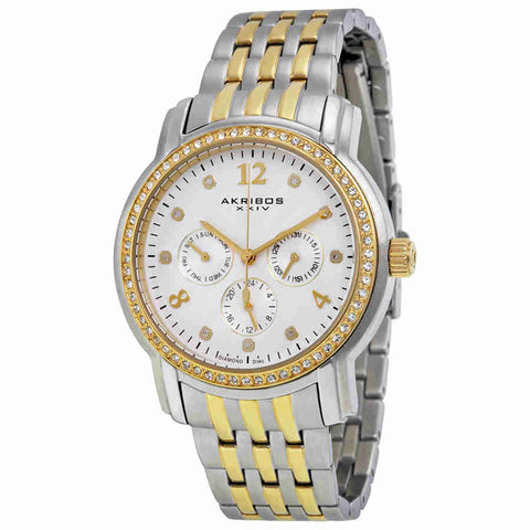 Akribos White Sunray Dial Two Tone Stainless Steel Ladies Watch AK626TTG