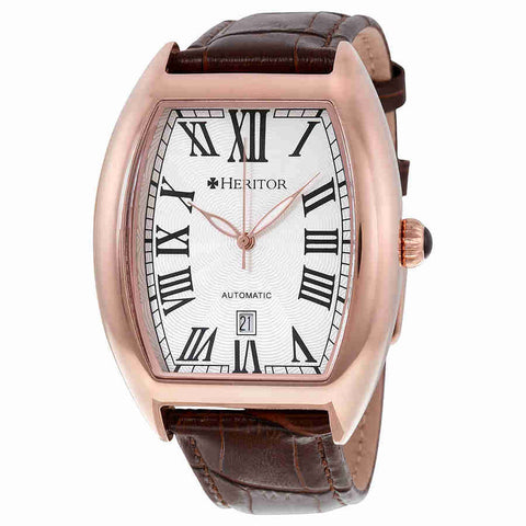 Heritor Redmond Automatic Silver Dial Brown Leather Mens Watch HR2205