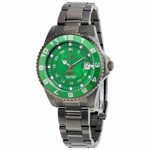 Invicta Pro Diver Green Dial Gunmetal Ion-plated Ladies Watch 18249
