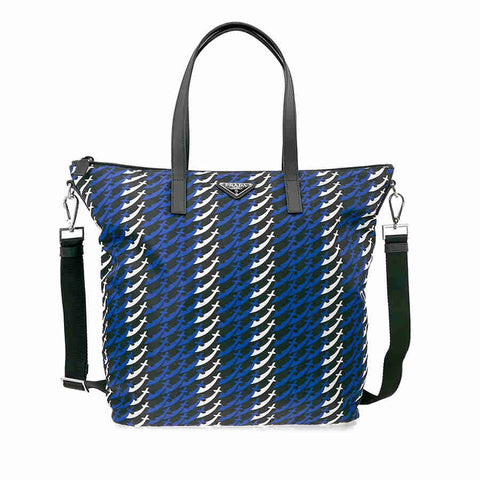 Prada Printed Nylon Tote - Bluette Spade and Sword