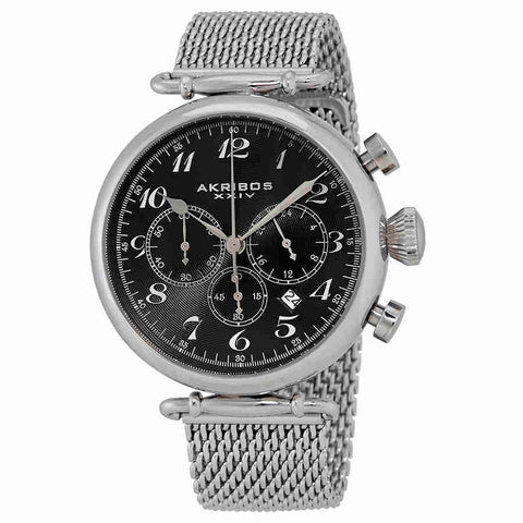 Akribos Chronograph Black Dial Stainless Steel Mens Watch AK627SSB