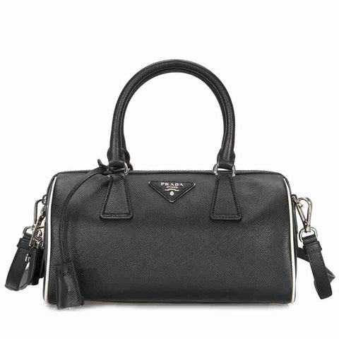 "PRADA 2-Way Black / White Ladies 9.8"" x 5.3"" x 5.7"" Shoulder Bag 1BB845 F0N12"