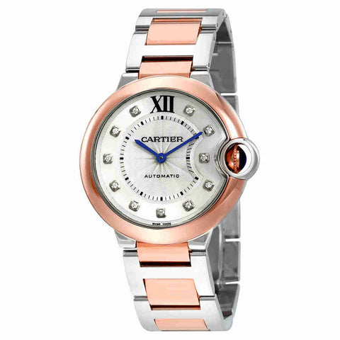 Cartier Ballon Bleu Automatic Silver Diamond Dial Steel and 18K Pink Gold Ladies Watch W3BB0007