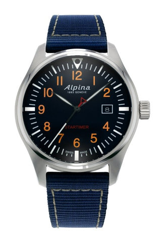 Alpina Startimer Pilot Navy Blue Dial Mens Nylon Watch AL-240N4S6