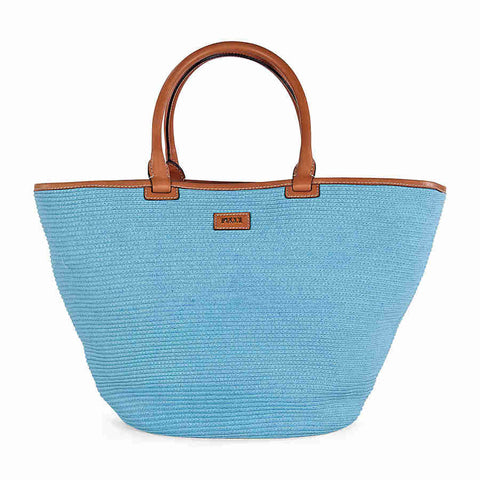 Emilio Pucci Mid-Sized Woven Raffia Tote Handbag in Powder Blue