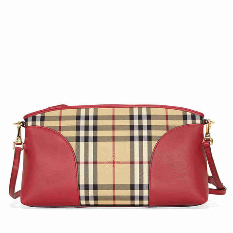 Burberry Horseferry Check and Leather Clutch - Honey/Parade Red