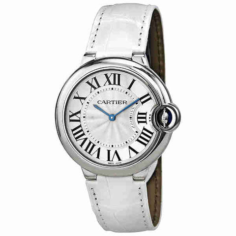 Cartier Ballon Bleu Silver Dial White Leather Ladies Watch W6920087