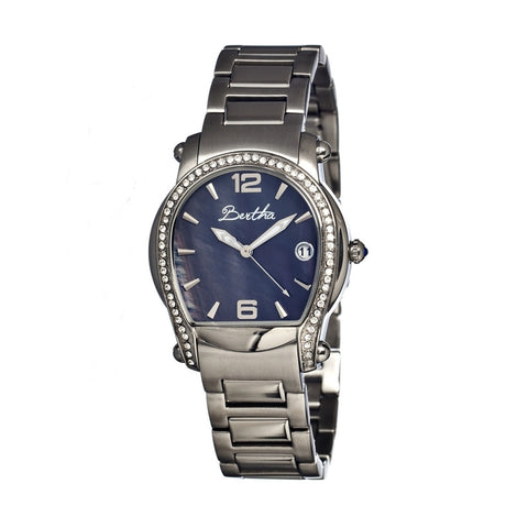 Bertha Fiona Blue Mother of Pearl Dial Stainless Steel Ladies Watch BR2902