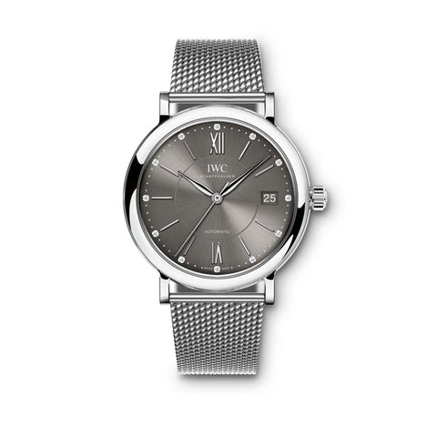 IWC Portofino Automatic Anthracite Diamond Dial Stainless Steel Mesh Unisex Watch 4581-10