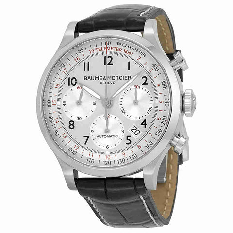 Baume and Mercier Capeland Chronograph Silver Dial Mens Watch 10046