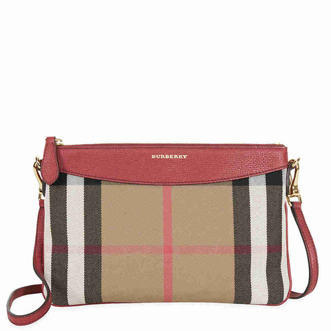 Burberry Horseferry Check Leather Clutch - Russet Red