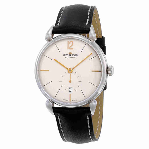 Fortis Terrestis Orchestra PM Classical Modern Date Automatic Silver Dial Black Leather Mens Watch 900.20.32 L01