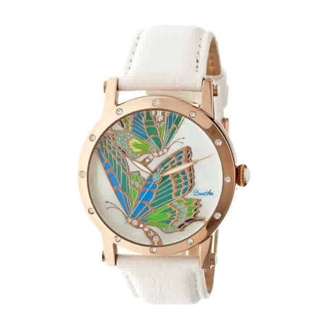 Bertha Isabella Mother of Pearl Dial White Leather Ladies Watch BR4304
