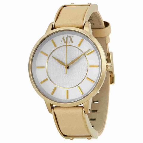 Armani Exchange White Dial Beige Leather Ladies Watch AX5301