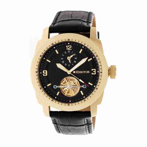 Heritor Helmsley Black Dial Leather Automatic Mens Watch HR5007