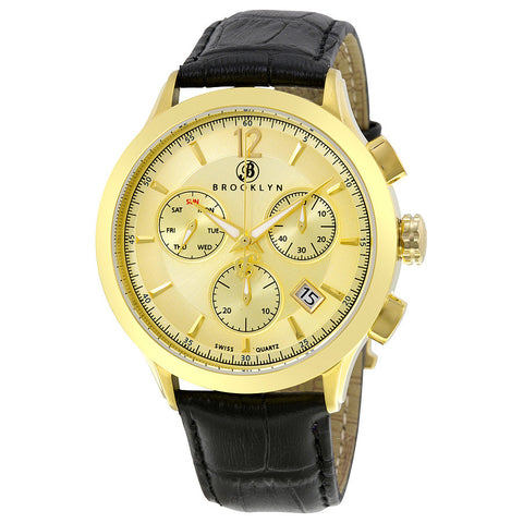Brooklyn Dakota Swiss Quartz Chronograph Gold Tone Dial Mens Watch