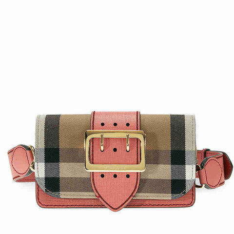 4973a314f997 Save 20% Burberry Small Buckle Bag in House Check and Leather - Cinnamon Red
