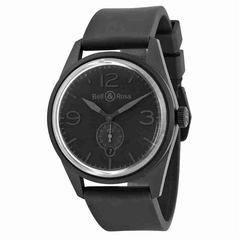 Bell and Ross Vintage Automatic Black Dial Black Rubber Mens Watch BRV123-PHANTOM