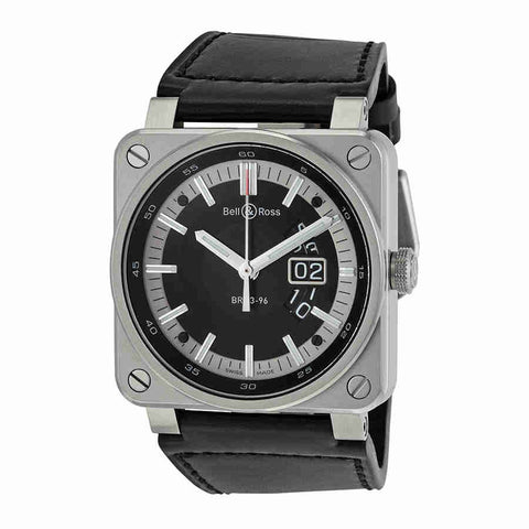 Bell and Ross Aviation Automatic Black Dial Square Black Leather Mens Watch BR0396-SI-ST