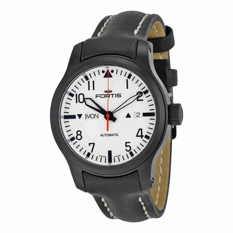 Fortis F-43 Stealth Automatic White Dial Black Leather Mens Watch 6551812L01