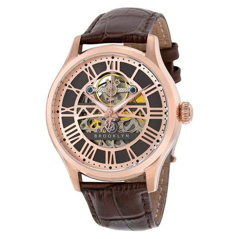 Brooklyn Bridgewater Skeleton Automatic Grey Dial Mens Watch