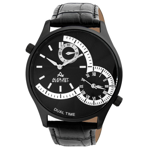 August Steiner Black Steel Mens Watch AS8010BK