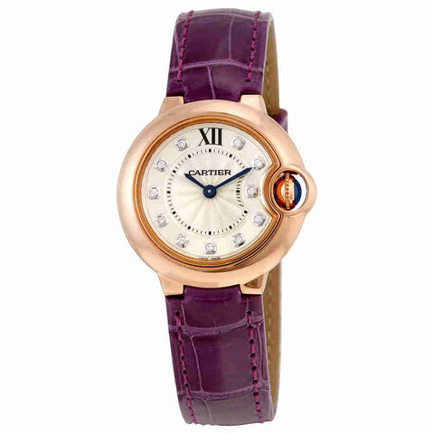 Cartier Ballon Bleu Silver Dial Diamond 18kt Rose Gold Ladies Watch WJBB0019